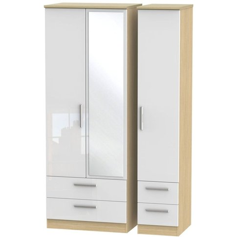 Knightsbridge High Gloss White And Oak 3 Door Triple Wardrobe - Tall With Drawer And Mirror