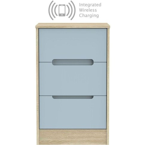 Monaco 3 Drawer Bedside Cabinet With Integrated Wire...