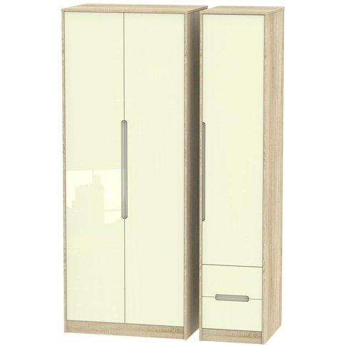 Monaco 3 Door 2 Right Drawer Tall Wardrobe - High Gl...