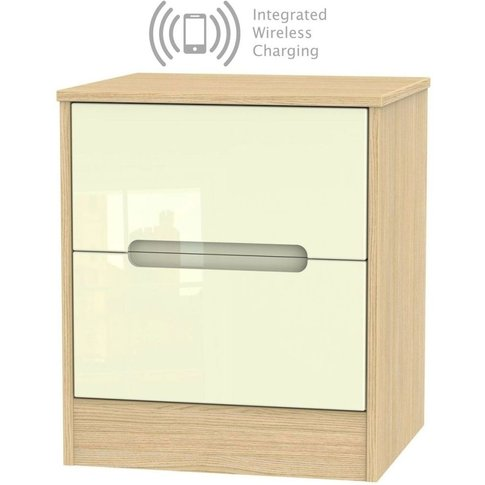 Monaco 2 Drawer Bedside Cabinet With Integrated Wire...
