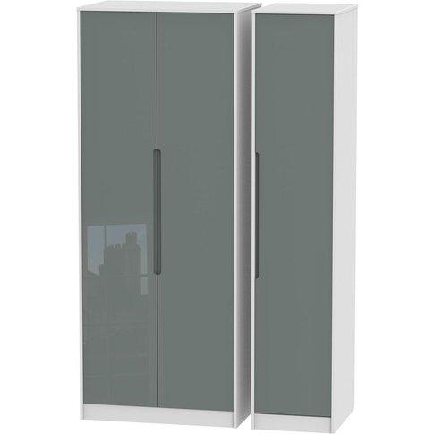 Monaco High Gloss Grey And White 3 Door Triple Wardr...