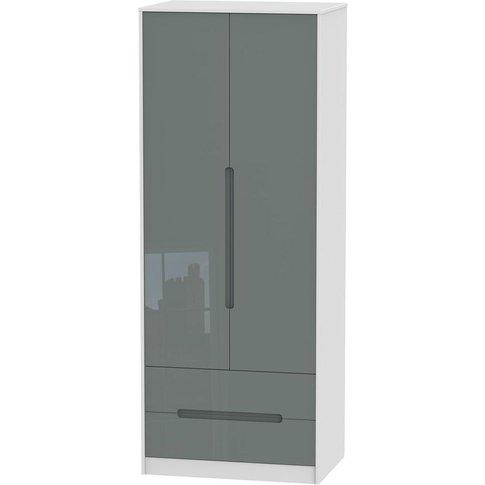 Monaco High Gloss Grey And White 2 Door Double Wardr...