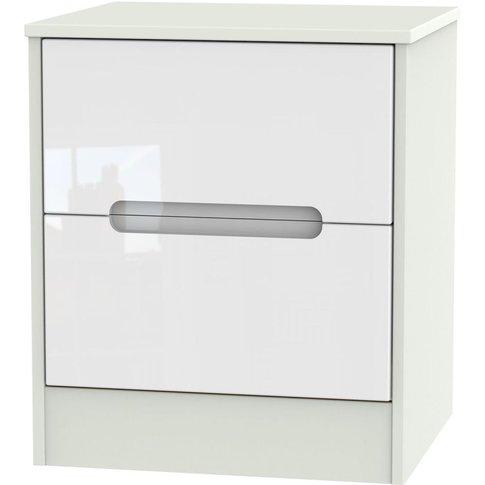Monaco High Gloss White And Kaschmir Bedside Cabinet...