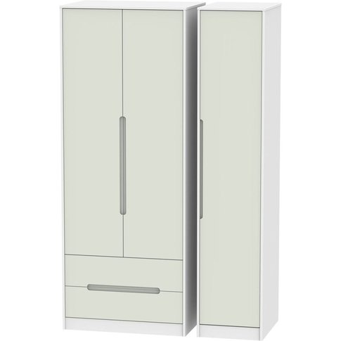 Monaco Kaschmir And White 3 Door Triple Wardrobe - Tall With 2 Drawer
