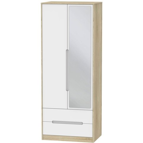 Monaco 2 Door Tall Combi Wardrobe - White Matt And B...