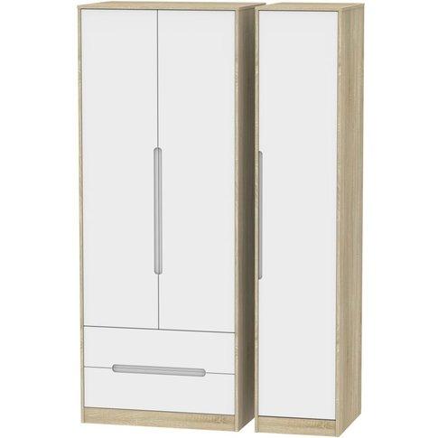 Monaco 3 Door 2 Left Drawer Tall Wardrobe - White Ma...