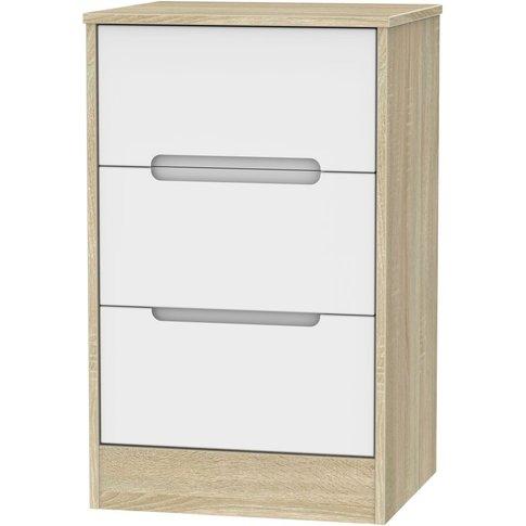 Monaco 3 Drawer Bedside Cabinet - White Matt And Bar...