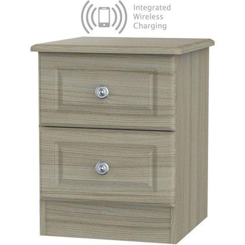 Pembroke Driftwood 2 Drawer Bedside Cabinet With Int...