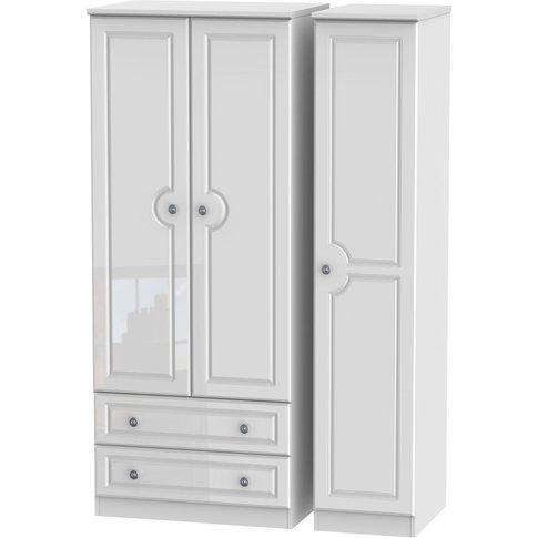 Pembroke 3 Door Triple Wardrobe With 2 Drawer - High...