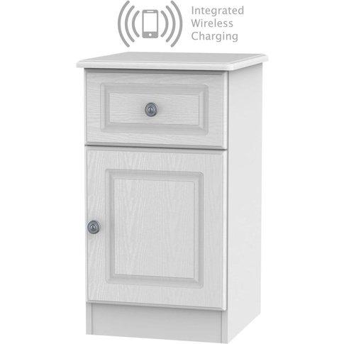 Pembroke White 1 Door 1 Drawer Bedside Cabinet With ...