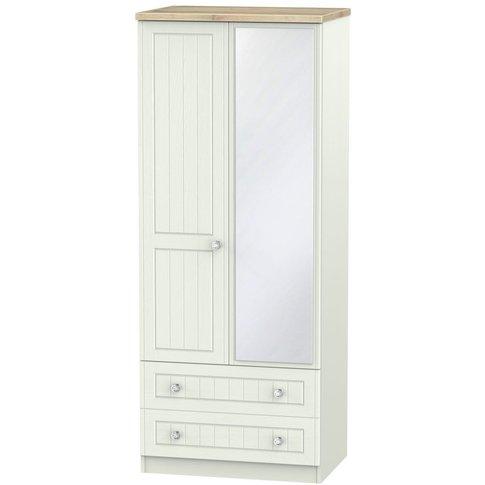 Rome Bordeaux Oak With Kaschmir Ash 2 Door Double Wardrobe - 2ft 6in 2 Drawer With Mirror
