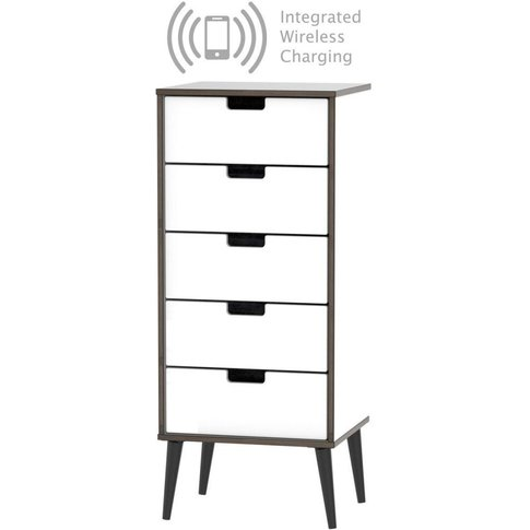 Shanghai High Gloss White Tall Bedside Cabinet With ...
