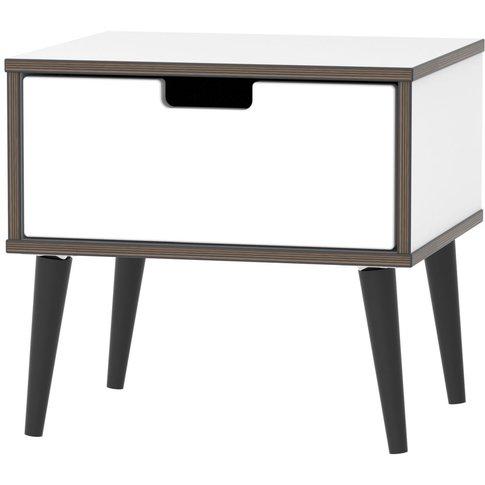 Shanghai High Gloss White 1 Drawer Bedside Cabinet W...