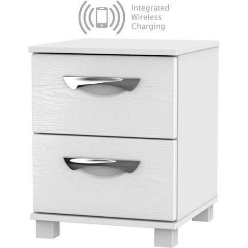 Somerset White Klein 2 Drawer Bedside Cabinet With I...