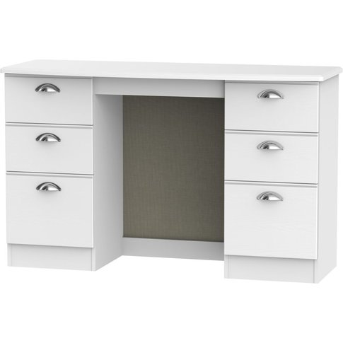 Victoria White Ash Dressing Table Knee Hole Double P...