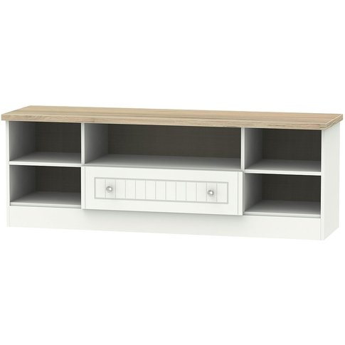 Vienna 1 Drawer Wide Open Tv Unit - Porcelain Ash An...