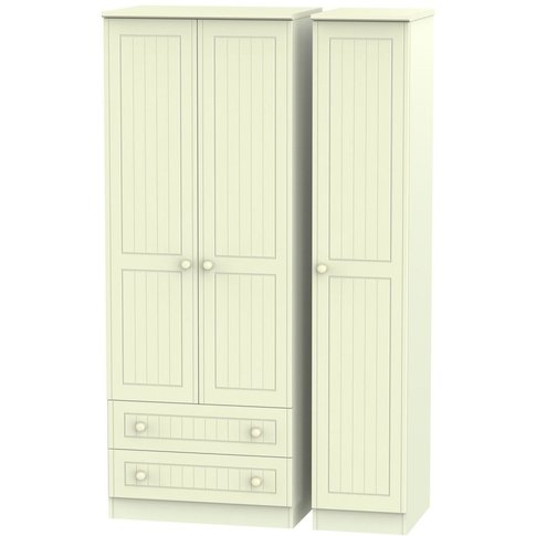 Warwick Cream 3 Door Triple Wardrobe - Tall With 2 D...