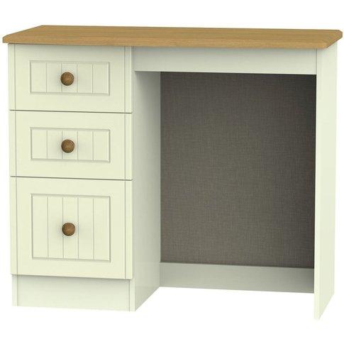 Warwick Cream and Oak Single Pedestal Dressing Table