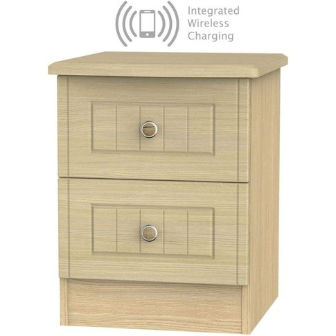 Warwick Oak 2 Drawer Bedside Cabinet With Integrated...