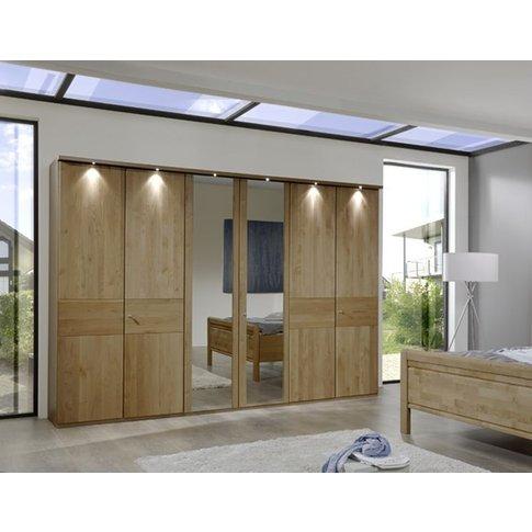 Wiemann Amalfi 6 Door Mirror Wardrobe In Semi-Solid Alder And Plain Cross Trim - W 300cm