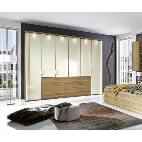 Wiemann Lido 6 Door Bi Fold Wardrobe In Oak And Magn...
