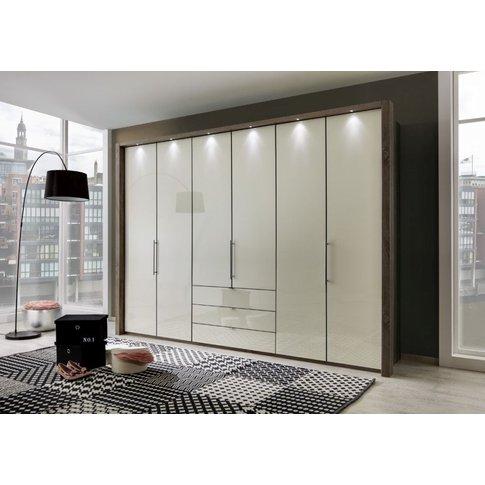 Wiemann Loft 6 Door 3 Drawer Bi Fold Wardrobe In Oak And Magnolia Glass - W 300cm
