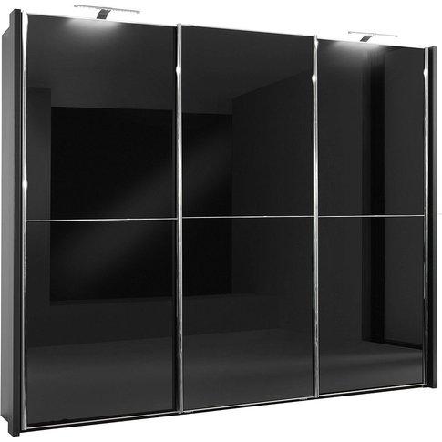 Wiemann Miami2 3 Door Sliding Wardrobe In Black Glas...