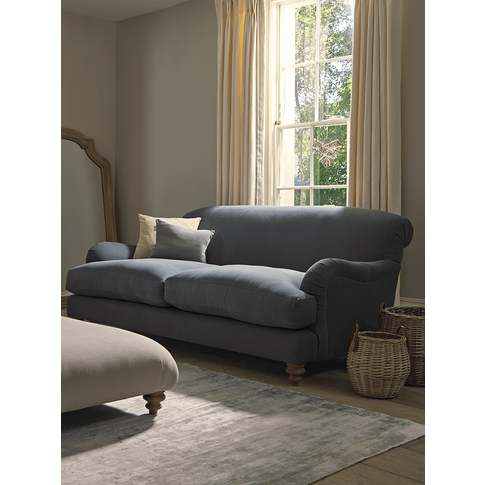 Cosy Midi Sofa French Blue Linen Cotton Blend