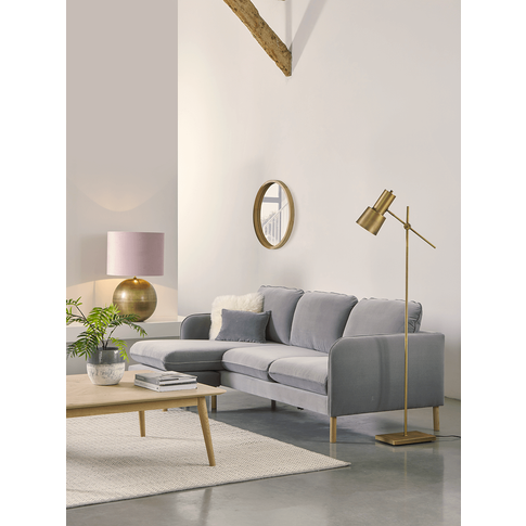 Scandi Midi Chaise Sofa Smoke Linen Cotton Blend
