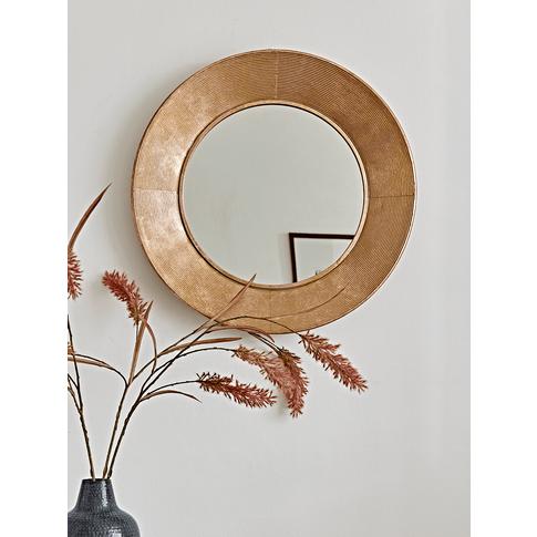 Round Textured Frame Mirror