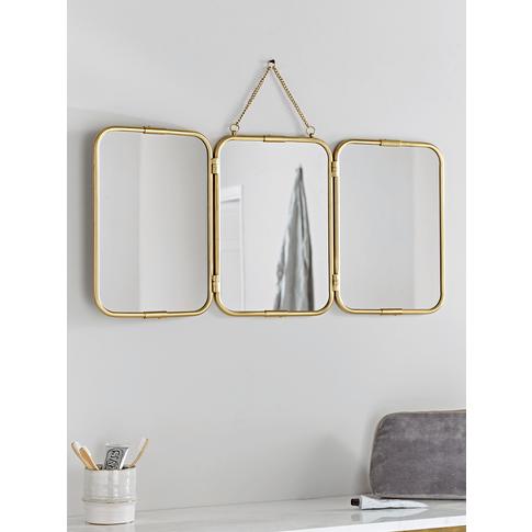 New French Triple Mirror - Brass