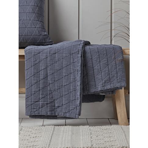 Soft Geometric Bedspread - Indigo