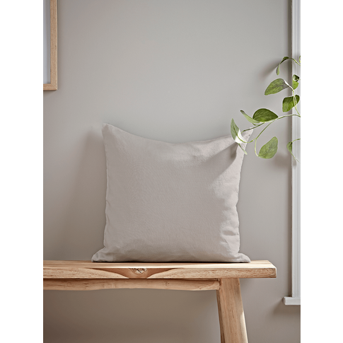Washed Linen Square Cushion - Soft Grey