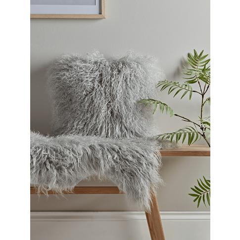 Tibetan Sheepskin Cushion - Soft Grey