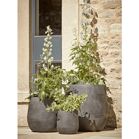 New Three Geometric Etched Planters - Dark Grey