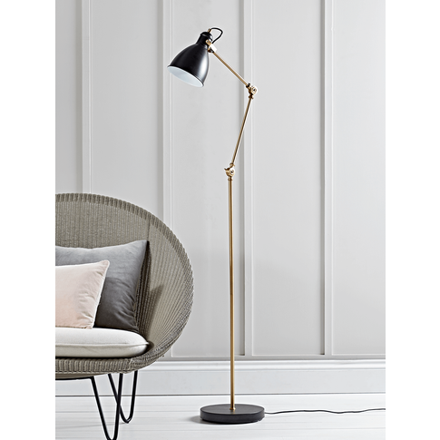 New Black And Brass Angle Floor Lamp