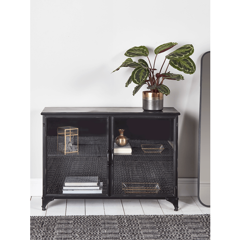 Black Iron Display Cabinet - Low