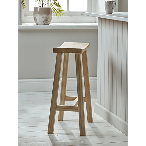Curved Topped Counter Stool - Oak