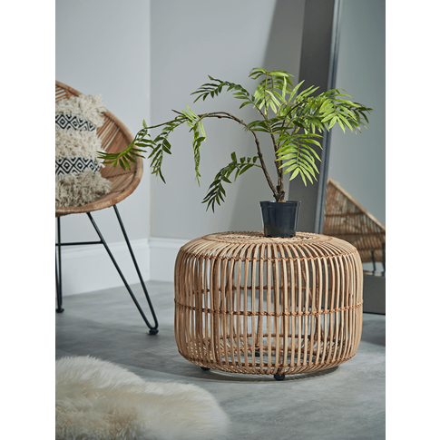 Small Flat Rattan Side Table - Natural