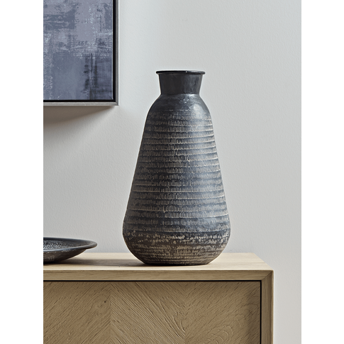 Hammered Metal Tapered Vase