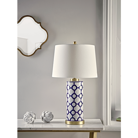 Handpainted Blue Geometric Table Lamp