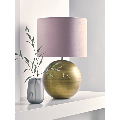 Oversized Brass & Blush Ball Table Lamp