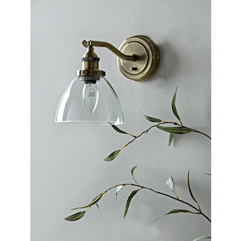 Domed Glass Wall Light - Brass