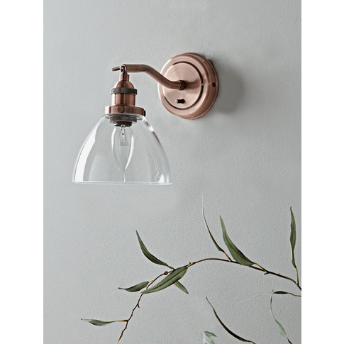 Domed Glass Wall Light - Copper