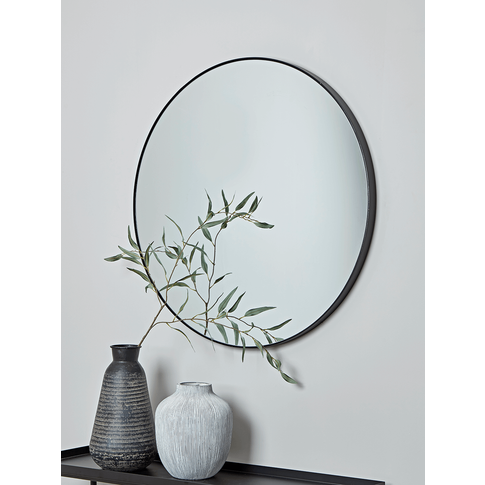 Slim Black Frame Round Mirror
