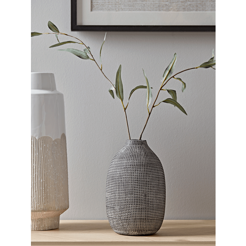 New Etched Grey Tapered Vase