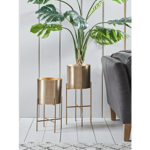 NEW Two Metal Standing Planters - Brass