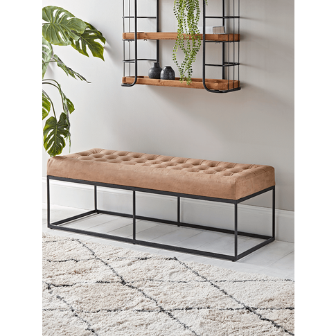 New Faux Leather Buttoned Bench