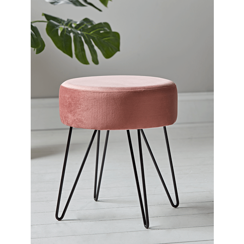 NEW Velvet Hairpin Leg Stool - Blush