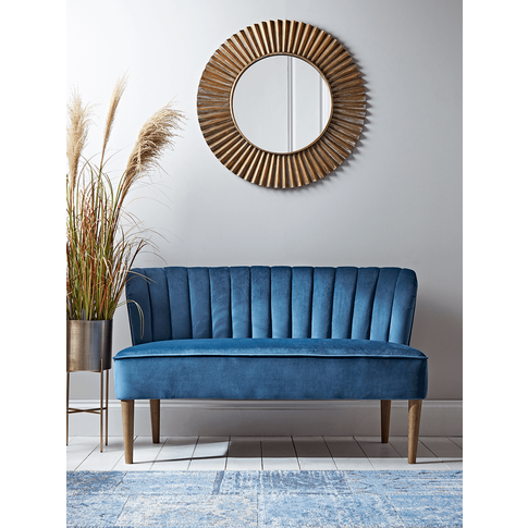 New Fluted Velvet Sofa - Blue
